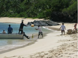 Rugby practise on the island