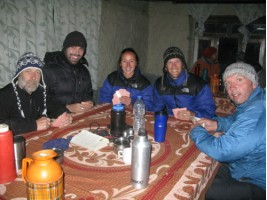 Having a game of cards with Glen, Cam and Andy at Tilicho Base Camp